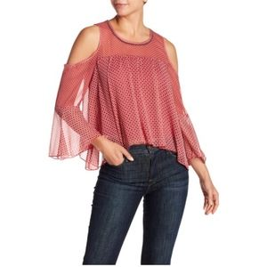 Lucky Brand Cold Shoulder Bell Sleeve Blouse